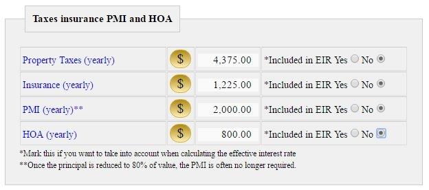Taxes insurance PMI and HOA